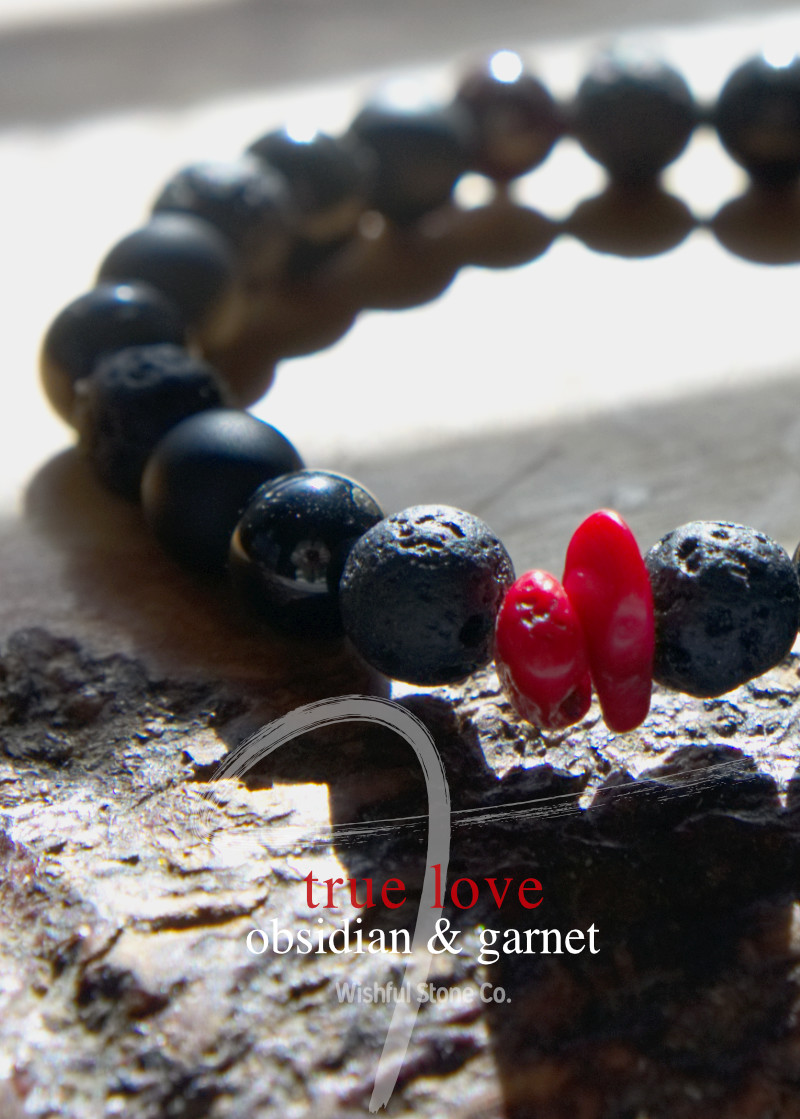 Obsidian, Red Coral with Basalt & Red Garnet Stone