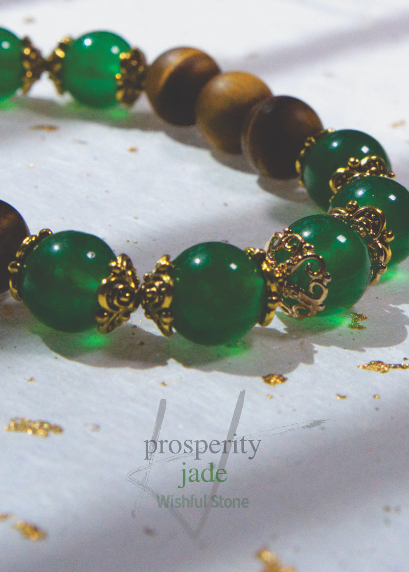 Real Jade Bracelet with Tiger Stone